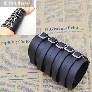 5 Buckles Black Leather Bracer Arm Armor Cuff Punk EMO Gothic Cosplay Costumes & Accessories