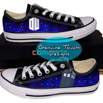 VONR3I Custom Converse, Doctor who, Tardis, Time lord, Fanart shoes, Custom Chucks, painted s