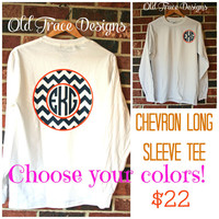 Long Sleeve Monogram Chevron T Shirt Personalized Custom You choose colors!