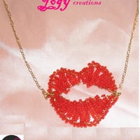 SALE 10% Off Red lips pendant seed bead smile marilyn monroe contemporary gold copper chain funky necklace jewelry gift