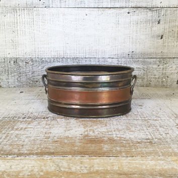 Brass Planter Brass and Copper Planter Brass Bowl Small Planter Garden Container Brass Succulent Planter Succulent Pot Brass Flower Pot