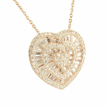 Baguette Cut Heart Pendant Rose Gold Over 925 Silver Necklace