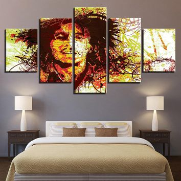 5 Pieces Modern Canvas Poster For Living Room Home Decor Bob Marley Paintings Modular Music Abstract Pictures Wall Art Bedroom