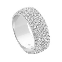 Ellani Sterling Silver White Cubic Zirconia 5 Row Pave Ring