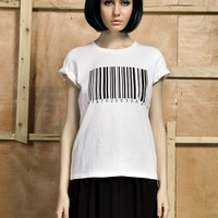 Front Row Shop Bar code printed short T-shirt (white) - Clothing