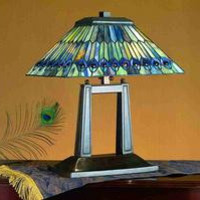 20 Inch H Jeweled Peacock Oblong Desk Lamp Table Lamps