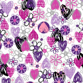 Line Flowers Hearts Pink, Purple & Gray Easy Wash Care Fabric F2030