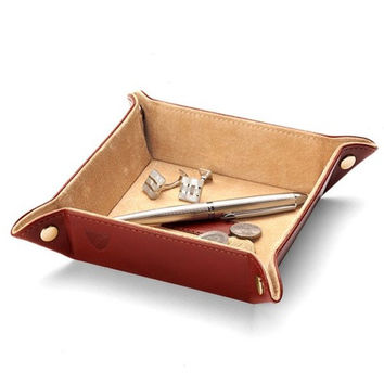 Cognac Leather Valet Tray