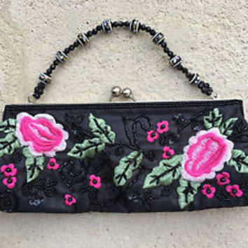 Embroidered Roses Floral Black Satin Beaded Evening Bag Prom Purse