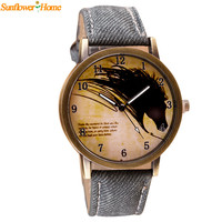 Newly Design Vintage Brief Painting Horse Watch Quartz Wrist Watches Aug27