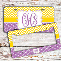 Monogrammed gift license plate or frame - Bright yellow chevron purple - personalized car tag car accessories bike license plate (1294)