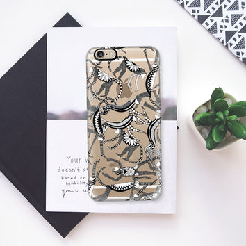 monkey black white transparent iPhone 6s case by Sharon Turner | Casetify