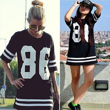 Hot Girl Women Casual 86 Number HipHop Baseball Tops Sports T Shirt Blouse Tee Celeb Style black = 1956773124