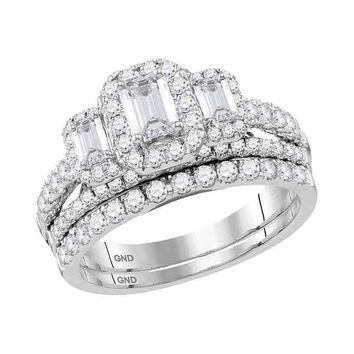 14kt White Gold Womens Emerald Diamond 3-Stone Bridal Wedding Engagement Ring Band Set 1-1-2 Cttw