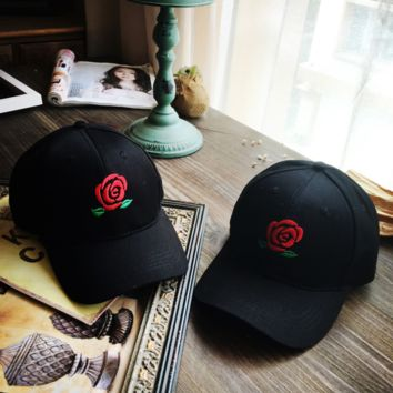 Black Rose Flower Embroidered Baseball Cap Hat