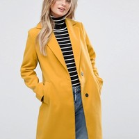 New Look Dark Yellow Overcoat at asos.com
