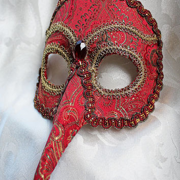 Red and Gold Brocade Bird Masquerade Mask with Red and Gold Trim