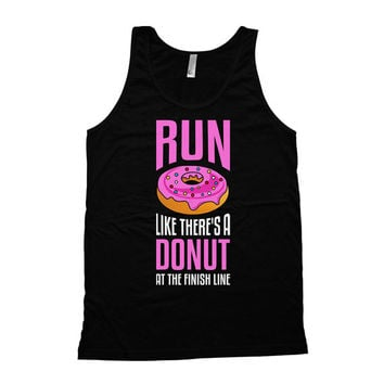 Funny Running Tank Run Like There's A Donut At The Finish Line American Apparel Tank Marathon Tank Top Running Clothes Womens Tanks WT-35A