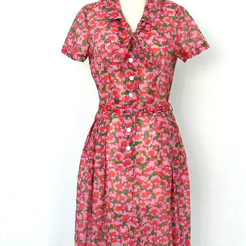 1960s Floral Dress / 60s dress / shirtwaist / 40s style dress / fit and flare / courthouse wedding / Kay Whitney / Medium