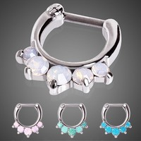 316L Surgical Steel Princess Septum Clicker with Opalite Stones