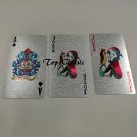 Durable Waterproof Plastic Playing Cards Foil Poker Silver Color Plated Playing Cards Table Games With Tracking Number Drop Ship