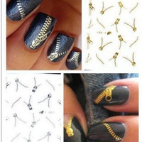 Nail Decor Decal Gold and Silver Zippers