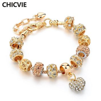 CHICVIE Gifts Gold Color Crystal Heart Charm Personalized Bracelets & Bangles For Women Trendy Bracelet Femme Jewelry Sbr160056