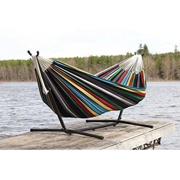 Double Cotton Hammock Rio Night with Stand Garden Outdoor Hammock Swing