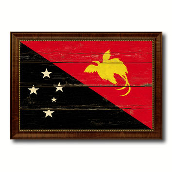 Papua New Guinea Country Flag Vintage Canvas Print with Brown Picture Frame Home Decor Gifts Wall Art Decoration Artwork
