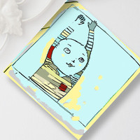 Happy Boy Greeting Card Fine Art Print Blue Yellow