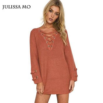 Julissa Mo Women Sweaters and Pullovers Sexy Loose Long Lace Up Knitted Sweaters Casual Autumn Winter Oversized Sweater