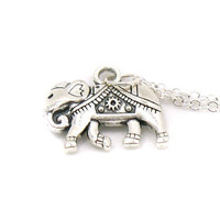 Silver Indian Elephant Necklace, Charm Necklace, Charm Jewelry, Antique Silver Elephant Necklace, Silver Elephant Jewelry, Animal Charm