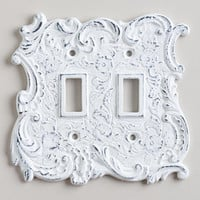 Double White Cast Iron Switch Plate | World Market