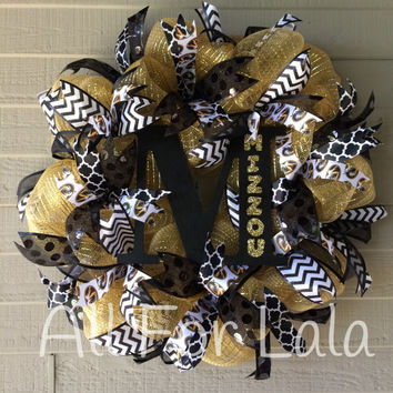 Mizzou Wreath University of Missouri Tigers Football Deco Mesh Wreath Ribbon