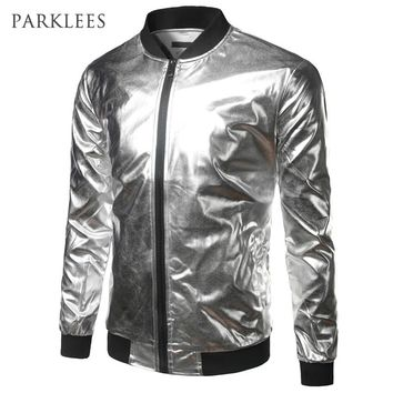Silver Metallic Bomber Jacket Men Mandarin Collar Shiny Night Club Baseball Varsity Jacket Men Casual Slim Fit Mens Jacket Coats