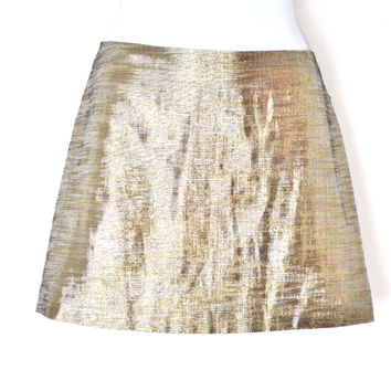 Gold Silver Metallic Coil Mini Skirt Lame Mod A Line Space Skirt (Alice + Olivia)