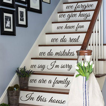 Wall Decals Quote We Are A Family... Staircase Stairway Stairs Words Phrase Home Vinyl Decal Sticker Kids Nursery Baby Room Decor kk480