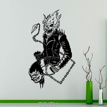 Ghost Rider Wall Sticker Comics Antiheroes Vinyl Decal Flaming Skull Home Interior Creative Poster Graphics Bedroom Decor
