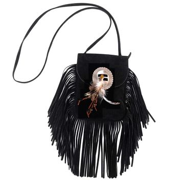 Conch Feather Fringe Bag
