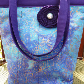 Handcrafted Snap Handle Blue and Purple Purse / Tote Bag/ Handbag with fabric flower