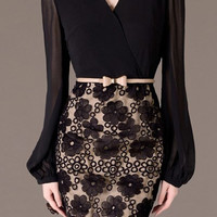Black Lantern Sleeve Belted Lace Embroidered Dress