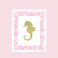 Nautical Gold Glitter Seahorse Pink Print Nursery Decor Baby CUSTOMIZE YOUR COLORS 8x10 Prints Nursery Decor Art Baby Room Decor Kids