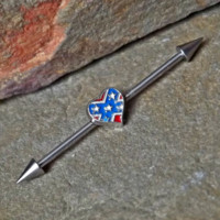 Heart Confederate Flag Industrial Barbell 14ga Surgical Steel Upper Ear Jewelry 14ga