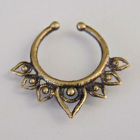 Oxidized Brass Septum For Non Pierced Nose - Septum Jewelry - Indian Nose Ring - Ethnic Septum - Septum Piercing - Nose Jewelry