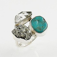 Herkimer Diamond, Pyrite Drusy & Turquoise Sterling Silver Ring