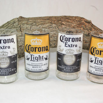 Drinking Glasses From Upcycled Corona Beer Bottles, 8 oz., Recycled Corona Beer Bottle, ONE glass