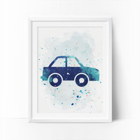 Car Prints, Car Nursery Art, Transportation wall art, Boys Nursery Printable, Watercolor Art, Navy Blue, Mint Nursery Art, Instant Download