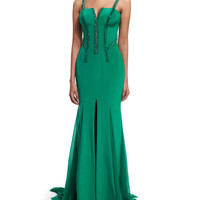 Versace Sleeveless Silk Cady Gown w/Georgette Train, Emerald