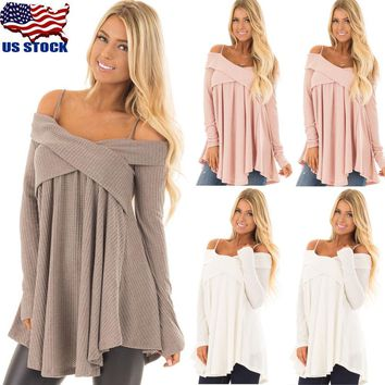 Women Long Sleeve Sexy V Neck Cold Shoulder Swing Tunic Top Casual Blouse Shirts