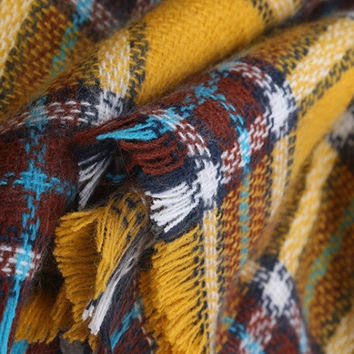 Yellow Tartan Plaid Long Wrap Scarf